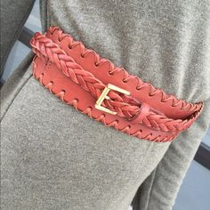 """Linea Pelle Collection Leather Wrap Belt Size medium leather wrap around belt.. Flat whip stitch leather band 'measures:17.5"""" long 2.5""""wide...on either end of that leather band are braided belt straps ..one braided side (24"""")has the gold belt buckle.. The other side measures 28"""" long... No trades no pay pal Linea Pelle Accessories Belts"""