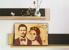 Our product does not use paints or burn! Do you want to make an unforgettable impression to your close one? Make a present of the portrait, executed in old technique of marquetry. This is an art of creating wooden pictures. There are used different in color and texture pieces of wood veneer instead of paints in these pictures. Size 12''x20'' (30сmx50сm). Engagement Gift Personalized Wedding Gift 5th Anniversary Family Portrait Wedding Wood Photo Gift For Couple Groom Bride Picture Frame…
