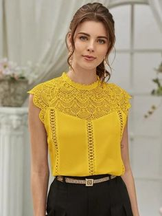 Trendy Fashion, Fashion News, Womens Fashion, Yellow Lace, Blouse Styles, Blouses For Women, Ideias Fashion, Clothes, Tops