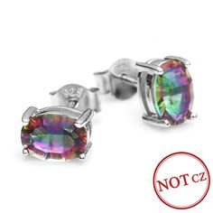 Fashion 1.5ct Genuine Natural Fire Rainbow Mystic Topaz Earrings Stud Only $25.99 => Save up to 60% and Free Shipping => Order Now! #Bracelets #Mystic Topaz #Earrings #Clip Earrings #Emerald #Necklaces #Rings #Stud Earrings