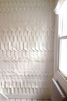 Contemporary wallpaper / geometric pattern / effect / custom by TRACEY TUBB Bathroom Wallpaper, Wall Wallpaper, Acoustic Wall Panels, Shiplap Ceiling, 3d Texture, Contemporary Wallpaper, Floor Patterns, Inspiration Wall, Wall Treatments