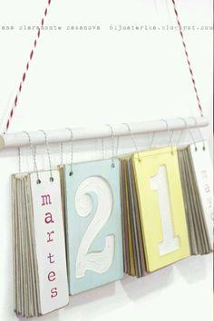 Calendario en grande, dia, número, mes, año