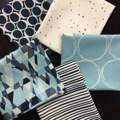 Many Shades of Blue Fabric Bundle Curated Fabric Bundle - Essentials II and Round Elements by Art Gallery Fabrics - 5 Fat Quarters
