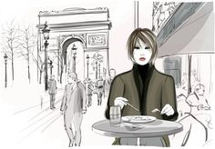 Pretty woman having a lunch at the Champs-Elysees avenue in Paris - Vector illustration - stock vector Cafe Art, Union Station, Champs Elysees, Paris, Ikon, Pretty Woman, Royalty Free Images, Lunch, Stock Photos