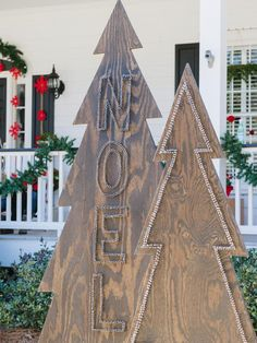 Make Rustic Nail-Head Christmas Trees - Add Holiday Flair to Your Front Yard With These DIY Projects on HGTV