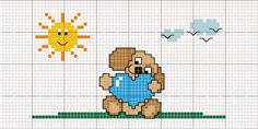 Cross Stitch Baby, Cross Stitch Animals, Cross Stitch Charts, Cross Stitch Patterns, Valentine Gift Baskets, Valentine Gifts, Christmas Cross, Cross Stitching, Needlework