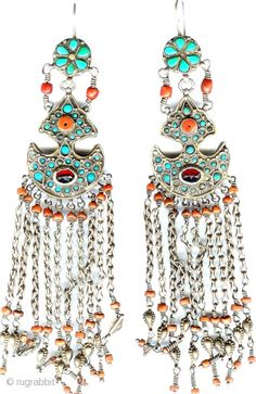 Uzbek | Earrings inlaid with turquoise and coral  | 19th century | Price on request