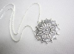 SALE 10  OFF Antique Silver Flower Necklace  by smilesophie, $15.00
