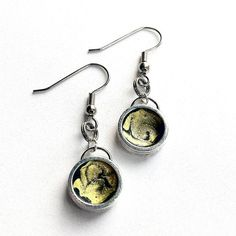 Silver and Yellow Dangle Earrings