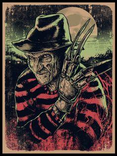 "Nightmare on Elm Street by Godmachine. 18"" x 24"""