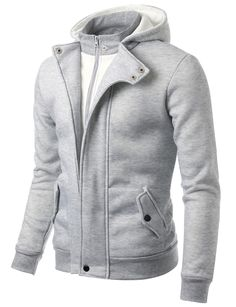 Doublju Mens Casual Inner Front Zip-up Hoodie #doublju