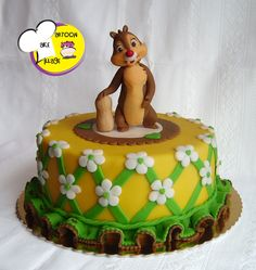 Dale from Chip 'n Dale--very sweet children's cake--i like the way she uses a nut as a support structure!