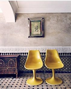 Another favourite pic. The colour of the chairs pops on the traditional Moroccan background #lovecolour #yellowchair #moroccaninterior #inspired #favouritepic