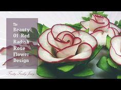 The Beauty Of Rose Carving Garnish: Best Vegetable For Flower Design - Red Radish & Cucumber - YouTube