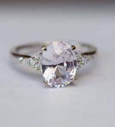 Etsy Lavender sapphire ring Engagement ring 14k white gold diamond ring 2.92ct oval light lavender sapphire #ad