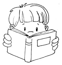 Cute clip art of kids reading