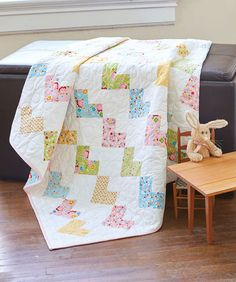 This might be the sweetest baby quilt ever! Make this crib quilt with soft, pretty colors, and wrap your love around a special baby! Use a pack of layer cake squares to make fabric selection easy. Lap Quilts, Small Quilts, Heart Quilts, Crib Quilts, Amish Quilts, Scrappy Quilts, Quilt Blocks, Baby Girl Quilts, Girls Quilts