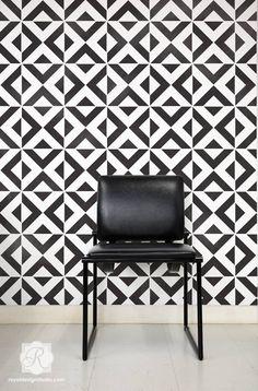 Geometric Moroccan Wall & Furniture Stencil | All The Angles Allover Stencil | Royal Design Studio