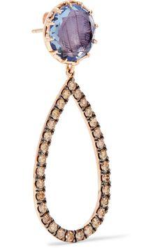 Larkspur & Hawk - Caprice 14-karat Rose Gold, Diamonds And Quartz Earrings - one size