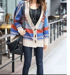 Aztec bat wing sleeve cardigan from The Pink Charriot on Storenvy