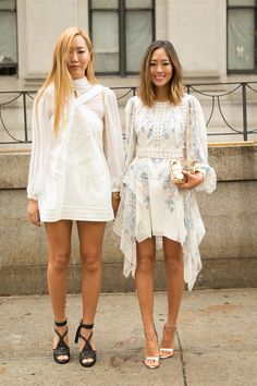 """It's so gloomy that I wanted to wear something white and bright,"" says Aimee Song, the force behind Song of Style. She and sister Dani braved rain, heat, and humidity in their creamy dresses and looked all the bolder for it.    - Cosmopolitan.com"