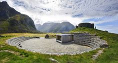 The Eggum Tourist route is one of 18 National Norwegian Tourist Routes, commissioned and managed by the Public Roads Administration to allow travelers to enjoy the countryside's spectacular vistas with amenities such as service buildings, hiking trails and public art. The Eggum project consists of a service building within an amphitheatre, a hiking trail, car park and stairs built in gabion walls.