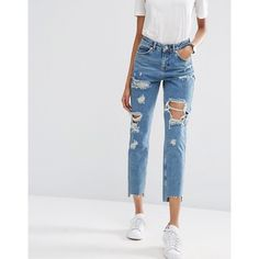 ASOS Original Mom Jeans in Jana Mid Stonewash with Busts and Stepped... ($46) ❤ liked on Polyvore featuring jeans, blue, cuffed jeans, blue jeans, distressed jeans, destroyed jeans and high rise jeans