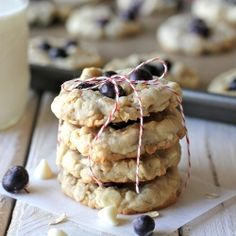 Jazzed up oatmeal cookies with white chocolate and blueberries - it'll be the best oatmeal cookie you'll ever have!