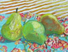 Pears on Blue Chintz