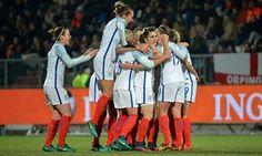 England women's football team celebrate the winning goal against Holland last month