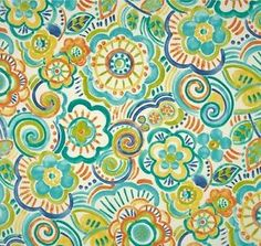 Outdoor Indoor Upholstery Retro Floral Blues Fabric PER 1 4 Yard   eBay