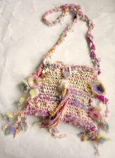 shoulder bag rustic silk handknit fantasy bag  by beautifulplace, $63.00