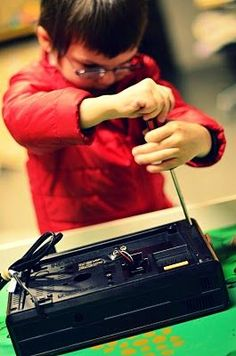 Might be fun for students to take apart thrift store electronics, which lends itself to 1) critical thinking 2) problem solving 3) creative thinking inventing! {repinned by First Grade Frame of Mind}