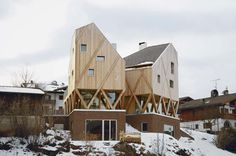 in the mountain village of castelrotto in northern italy, modus architects has designed a residence and atelier for an artist shaped with peaked roof forms..