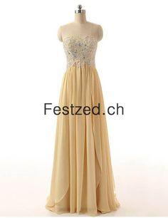 A-Linie Herzausschnitt Gold Chiffon Abendkleider