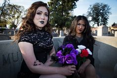 #Models: @karinefab & @christina.singh  #Photographer: @oldhcdude  #makeup #makeupartist #MUA #art #artist #cemetery #graveyard #goth #gothic #beauty #gold #silver #Gothlife #gothicmakeup by delalunabodypaint