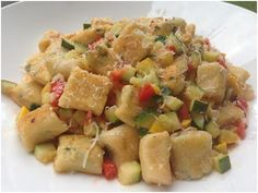 Toasted Basil Ricotta Gnocchi with Braised Zucchini, Yellow Squash & Jersey Tomatoes | Little Lady, Big Appetite
