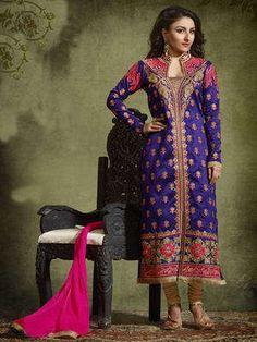 *Фиолетовое шёлковое нарядное платье с длинными рукавами