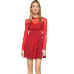 Three Floor Lady In Waiting Dress ($335) ❤ liked on Polyvore featuring dresses, multi, short sleeve dress, open back cocktail dress, lace mini dress, lace sleeve cocktail dress and red dress