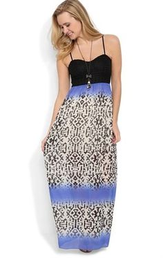 Deb Shops Long #Maxi #Dress with Color Block @Estefanía Trisotti Bal Print and Open Back $32.90