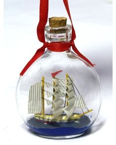 "Boat in a Bottle Ornament - Make It a Nautical Holiday - 3.75'' X 2.75"" - Not Just for Christmas, Can Be Used As a Hanging Ornament - New *** Learn more @"