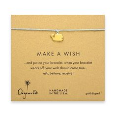 make a wish bracelet with gold dipped whale on turquoise $30