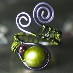 Green Pearl Garnet Copper Wirewrapped Ring, Freshwater Pearl, Dark Red, Violet…