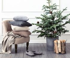 Scandinavian style Christmas home interior, relaxing place.