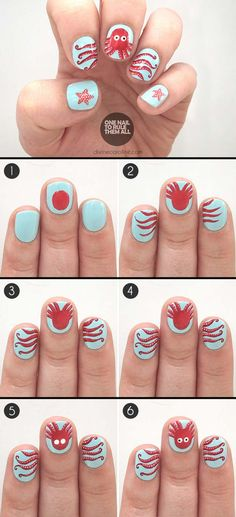 Nail Art Designs For Your Beach Vacation - Under the Sea: Octopus Summer Nail Art to Try - Give Yourself an Awesome New Style With One of These Manicures - Nailart with Palm Trees, Polka Dots, Sea Turtles and Designs For Just the Ring Finger - Blue China Glaze Designs and Toe Nail Art and Simple Glitter Pedicures - https://thegoddess.com/nail-art-designs-for-the-beach
