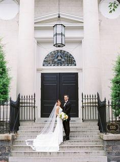 Bride & Groom in Front of Church  Photography: Branco Prata Read More: http://www.insideweddings.com/weddings/chic-destination-wedding-with-california-style-in-washington-dc/1042/
