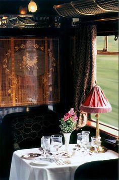 Elegant small space dining on the Orient Express.