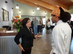 Chef Asei visiting with Dina from Harvest Moon Edible Landscapes