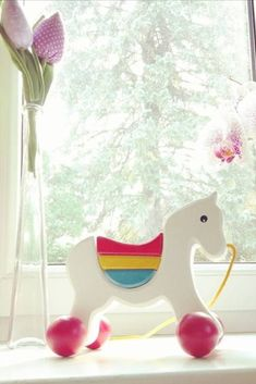 Wooden Pony on a string in WHITE color in category Push & Pull toys / Wooden Toys Wooden Horse, Pull Toy, Paint Finishes, Your Child, Your Pet, Red And White, Pony, Creative, Handmade