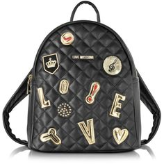 Love Moschino Black Quilted Backpack (1.815 HRK) ❤ liked on Polyvore featuring bags, backpacks, vegan bags, faux leather bag, love moschino, vegan leather backpack and knapsack bag